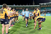 Jake Gordon leads the Waratahs off the field. NSW Waratahs v ACT Brumbies. 2021 Super Rugby AU Round 7 Match. Played at Sydney Cricket Ground on Friday 2 April 2021. Photo Clay Cross / photosport.nz