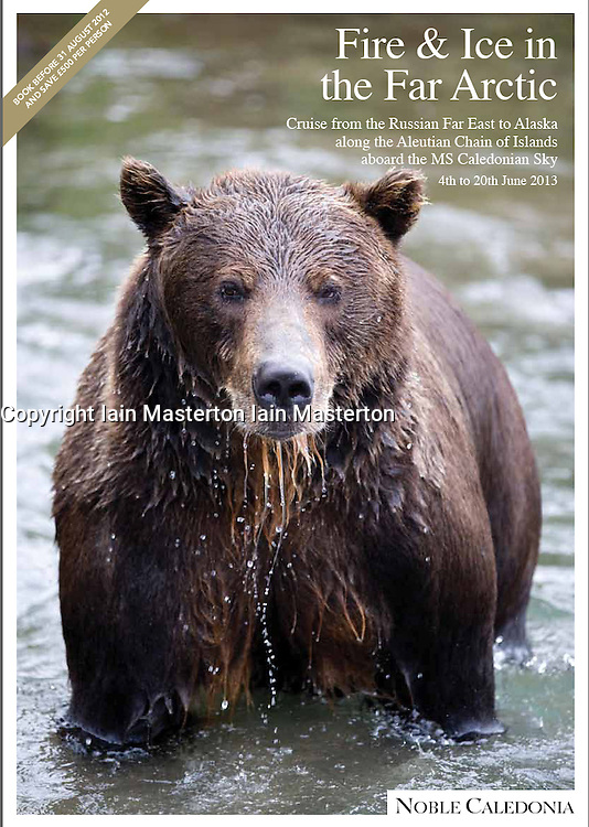 Noble Caledonia cruise brochure cover; bear in Kamchatka