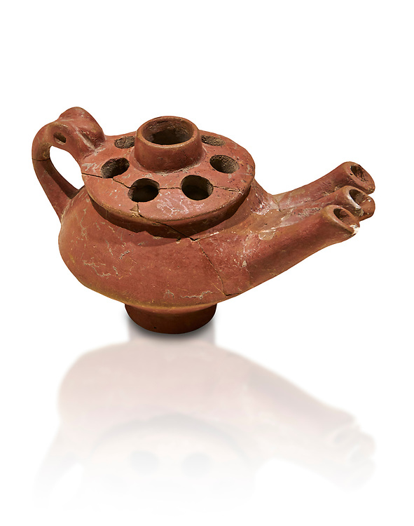 Bronze Age Anatolian terra cotta three spouted teapot - 19th to 17th century BC - Kültepe Kanesh - Museum of Anatolian Civilisations, Ankara, Turkey.. Against a white background. .<br /> <br /> If you prefer to buy from our ALAMY PHOTO LIBRARY  Collection visit : https://www.alamy.com/portfolio/paul-williams-funkystock/kultepe-kanesh-pottery.html<br /> <br /> Visit our ANCIENT WORLD PHOTO COLLECTIONS for more photos to download or buy as wall art prints https://funkystock.photoshelter.com/gallery-collection/Ancient-World-Art-Antiquities-Historic-Sites-Pictures-Images-of/C00006u26yqSkDOM