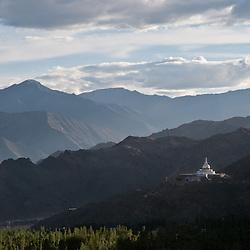 Shanti Stupa of Ladakh as seen from a distance.