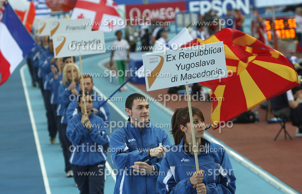 Flag of Former Yugoslavian republic Macedonia at the Opening ceremony at the 1st day of  European Athletics Indoor Championships Torino 2009 (6th - 8th March), at Oval Lingotto Stadium,  Torino, Italy, on March 6, 2009. (Photo by Vid Ponikvar / Sportida)