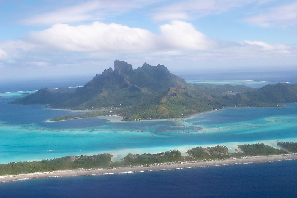 Aerial view of Bora Bora, Society Islands, on the approach from the airplane