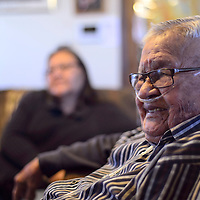 Navajo Code Talker Samuel Sandoval talks about his life at his home in Shiprock Tuesday February 21.