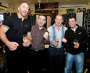 Bernard Tonge and Fergal Costello from Knocknacarra, Galway with Rugby legends Trevor Brennan and Frankie Sheahan at the Guinness Area22 event in the Carlton Hotel Galway.