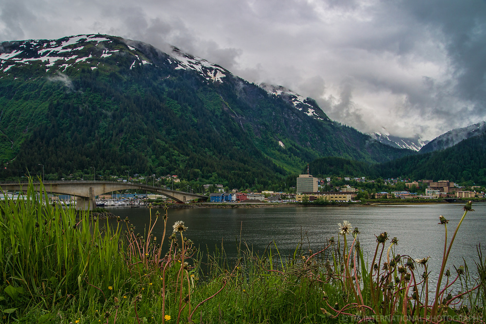 Douglas Bridge, Gastineau Channel & Mount Juneau