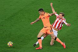 29th November 2017 - Premier League - Stoke City v Liverpool - Dejan Lovren of Liverpool battles with Peter Crouch of Stoke - Photo: Simon Stacpoole / Offside.