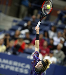 NEW YORK, Sept. 7, 2017  Andrey Rublev of Russia serves to Rafael Nadal of Spain during the men's singles quarterfinal match at the 2017 U.S. Open in New York, the United States, Sept. 6, 2017. Andrey Rublev lost 0-3. (Credit Image: © Qin Lang/Xinhua via ZUMA Wire)