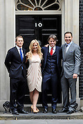© Licensed to London News Pictures. 30/03/2012. London, UK.(left to right) Josh Lewsey, Helen Skelton, John Bishop, David Walliams. Members of the Sports Relief Team on the doorstep of number ten Downing Street after meeting Prime Minister David Cameron. Photo credit : Stephen SImpson/LNP