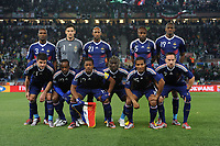 FOOTBALL - FIFA WORLD CUP 2010 - GROUP STAGE - GROUP A - FRANCE v MEXICO - 17/06/2010 - PHOTO FRANCK FAUGERE / DPPI - <br /> TEAM FRANCE ( BACK ROW LEFT TO RIGHT : ERIC ABIDAL , HUGO LLORIS , NICOLAS ANELKA , WILLIAM GALLAS , ABOU DIABY . FRONT ROW : JEREMY TOULALAN , SIDNEY GOVOU , PATRICE EVRA , FLORENT MALOUDA , FRANCK RIBERY )