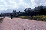 Motorbike driving on a trail in the area of Binh Lu close from Sapa