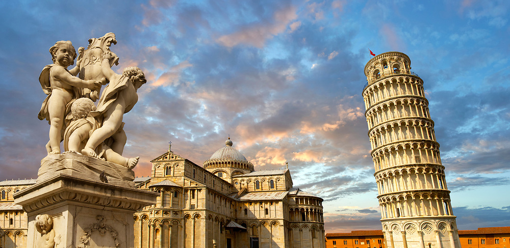 View of the Romanesque Leaning Tower of Pisa, the Bell tower, Piazza del Miracoli , Pisa, Italy .  The Leaning Tower of Pisa (torre pendente di Pisa) or simply the Tower of Pisa  is the campanile, or freestanding bell tower, of the cathedral of the Italian city of Pisa, known worldwide for its nearly four-degree lean, the result of an unstable foundation. The Leaning Tower of Pisa is situated behind the Pisa Cathedral and is the third-oldest structure in the city's Cathedral Square (Piazza del Duomo). The height of the Leaning Tower of Pisa is 55.86 metres (183.27 feet) from the ground on the low side and 56.67 metres (185.93 feet) on the high side. The width of the walls at the base is 2.44 m (8 ft 0.06 in). The Leaning Tower of Pisa has 296 or 294 steps; the seventh floor has two fewer steps on the north-facing staircase. The Leaning Tower of Pisa began to lean during construction in the 12th century, due to soft ground which could not properly support the structure's weight, and it worsened through the completion of construction in the 14th century. By 1990, the tilt of the tower had reached 5.5 degrees .<br /> <br /> Visit our ITALY HISTORIC PLACES PHOTO COLLECTION for more   photos of Italy to download or buy as prints https://funkystock.photoshelter.com/gallery-collection/2b-Pictures-Images-of-Italy-Photos-of-Italian-Historic-Landmark-Sites/C0000qxA2zGFjd_k<br /> .<br /> <br /> Visit our MEDIEVAL PHOTO COLLECTIONS for more   photos  to download or buy as prints https://funkystock.photoshelter.com/gallery-collection/Medieval-Middle-Ages-Historic-Places-Arcaeological-Sites-Pictures-Images-of/C0000B5ZA54_WD0s