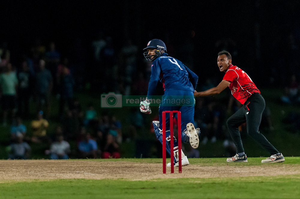 September 22, 2018 - Morrisville, North Carolina, US - Sept. 22, 2018 - Morrisville N.C., USA - Team USA JASKARAN MALHA (4) scores in the Super Over during the ICC World T20 America's ''A'' Qualifier cricket match between USA and Canada. Both teams played to a 140/8 tie with Canada winning the Super Over for the overall win. In addition to USA and Canada, the ICC World T20 America's ''A'' Qualifier also features Belize and Panama in the six-day tournament that ends Sept. 26. (Credit Image: © Timothy L. Hale/ZUMA Wire)