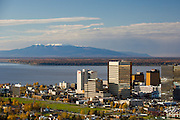 Early autumn snows on the top of Sleeping Lady Mt Susitna on the shores of Cook Inlet with  Anchorage the largest city in Alaska. Population 275000