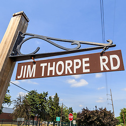 Carlisle, PA - June 26, 2016: The Jim Thorpe Road sign near the Carlisle Indian Industrial School Graves.