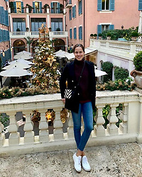 """Ana Ivanovic releases a photo on Twitter with the following caption: """"""""Still loving the holiday spirit 🎄🥳"""""""". Photo Credit: Twitter *** No USA Distribution *** For Editorial Use Only *** Not to be Published in Books or Photo Books ***  Please note: Fees charged by the agency are for the agency's services only, and do not, nor are they intended to, convey to the user any ownership of Copyright or License in the material. The agency does not claim any ownership including but not limited to Copyright or License in the attached material. By publishing this material you expressly agree to indemnify and to hold the agency and its directors, shareholders and employees harmless from any loss, claims, damages, demands, expenses (including legal fees), or any causes of action or allegation against the agency arising out of or connected in any way with publication of the material."""