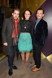 Left to right, JAMES WILLIAMS, ROSANNA FALCONER and MATTHEW WILLIAMSON at a party to celebrate the launch of the Monica Vinader London Flagship store at 71-72 Duke of York Square, London SW3 on 4th December 2014.