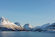 Scenic view of mountain range against clear sky, Nesna, Norway