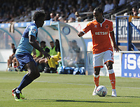 Blackpool's Nathan Delfouneso takes on Wycombe Wanderers' Anthony Stewart<br /> <br /> Photographer Kevin Barnes/CameraSport<br /> <br /> The EFL Sky Bet League One - Wycombe Wanderers v Blackpool - Saturday 4th August 2018 - Adams Park - Wycombe<br /> <br /> World Copyright © 2018 CameraSport. All rights reserved. 43 Linden Ave. Countesthorpe. Leicester. England. LE8 5PG - Tel: +44 (0) 116 277 4147 - admin@camerasport.com - www.camerasport.com