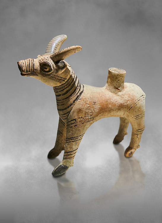 Bronze Age Anatolian terra cotta antilope shaped ritual vessel- 19th to 17th century BC - Kültepe Kanesh - Museum of Anatolian Civilisations, Ankara, Turkey. .<br /> <br /> If you prefer to buy from our ALAMY PHOTO LIBRARY  Collection visit : https://www.alamy.com/portfolio/paul-williams-funkystock/kultepe-kanesh-pottery.html<br /> <br /> Visit our ANCIENT WORLD PHOTO COLLECTIONS for more photos to download or buy as wall art prints https://funkystock.photoshelter.com/gallery-collection/Ancient-World-Art-Antiquities-Historic-Sites-Pictures-Images-of/C00006u26yqSkDOM