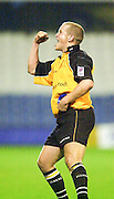 Wycombe. Buck's ENGLAND, Causeway Stadium.<br /> <br /> Zurich Premiership 11-11-2001<br /> London Wasps V Newcastle Falcons<br /> David Walder, celebrates after converting the winning try.  [Mandatory Credit;Peter SPURRIER/Intersport Image]
