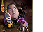Caricature: Jonah Hill gets the Penthouse Dirty Dozen award for most hilarious sex-with-the-devil scene. 3D modeling and Photoshop. Originally published in Penthouse Entertainment Review.