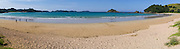Panoramic view of Te Ngaere Bay and its islets in the background. Northland, New Zealand.
