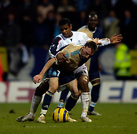 Photo: Jed Wee.<br /> Bolton Wanderers v Marseille. UEFA Cup. 15/02/2006.<br /> <br /> Marseille's French prodigy Franck Ribery (R) holds off Bolton's Ricardo Vaz Te.