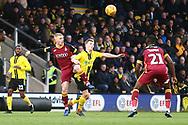 Burton Albion midfielder Jamie Allen (4) and Bradford City's Lewis O'Brien (39) during the EFL Sky Bet League 1 match between Burton Albion and Bradford City at the Pirelli Stadium, Burton upon Trent, England on 26 January 2019.