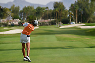 Celine Boutier (FRA) watches her tee shot on 2 during round 2 of the 2020 ANA Inspiration, Mission Hills C.C., Rancho Mirage, California, USA. 9/11/2020.<br /> Picture: Golffile | Ken Murray<br /> <br /> All photo usage must carry mandatory copyright credit (© Golffile | Ken Murray)