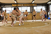 Takeuchi Masato (inside ring, right), a professional sumo wrestler whose ring name is Miyabiyama (meaning Graceful Mountain), at practice in Nagoya, Japan, just before a tournament.  (Takeuchi Masato is featured in the book What I Eat, Around the World in 80 Diets.) MODEL RELEASED.