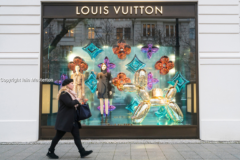 Louis Vuitton boutique on famous shopping street Kurfurstendamm , Kudamm, in Berlin, Germany.
