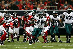 Philadelphia Eagles FB Leonard Weaver #43 carries the ball during the NFL game between the Philadelphia Eagles and the Atlanta Falcons on December 6th 2009. The Eagles won 34-7 at The Georgia Dome in Atlanta, Georgia. (Photo By Brian Garfinkel)