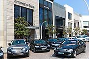 Mercedes Range Rover BMW Ermenigildo Zegna shops at Istinye Park shopping mall near Levent business center Istanbul, Turkey