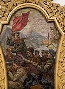 Decorated panel at Kiyevskaya metro station, Moscow, Russia