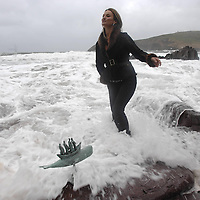 Susan Callery of the Greenlane Gallery who has recently opened a new gallery in Paris featuring work on the Kerry coastline pictured at Beenbawn Strand in Dingle, County Kerry.<br /> Picture by Don MacMonagle