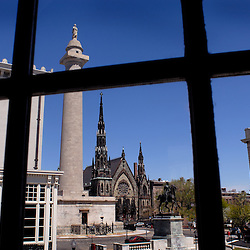 A view from the Walter's Art Museum shows the original Washington monument -- the oldest commemoration to the nation's first president; a Methodist church; and to the right, the Peabody Conservatory...Photo by Susana Raab