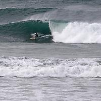 USA, California, Cardiff by the Sea. Overhead surf at Cardiff by the Sea, California in winter.