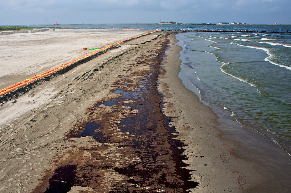 Oil washed up on the beach at Grand Isle State Park, Louisiana, June 5, 2010.
