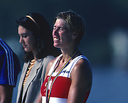 Banyoles, SPAIN, BRONZE Medalist,  CAN W1X SILKEN LAUMANN,  awards dock enjoys a quiet moment, 1992 Olympic Regatta, Lake Banyoles, Barcelona, SPAIN.   [Mandatory Credit: Peter Spurrier: Intersport Images]