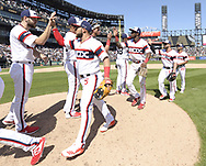 CHICAGO - JUNE 02:  Tim Anderson #7, Lucas Giolito #27 and other members of the Chicago White Sox celebrate after the game against the Cleveland Indians on June 2, 2019 at Guaranteed Rate Field in Chicago, Illinois.  (Photo by Ron Vesely)  Subject:  Tim Anderson; Lucas Giolito