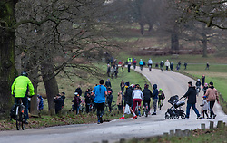 © Licensed to London News Pictures. 02/01/2021. London, UK. Families, walkers and cyclists enjoy a stroll in the sunshine in tier 4 restrictions on the first Saturday of 2021 in Richmond Park, South West London as weather forecasters predict a milder week ahead with rain. Last Wednesday the Oxford vaccine was approved for use, with the government securing over 100 million doses with an expected full rollout of vaccinations from this Monday, January 4th 2021 as the coronavirus pandemic crisis continues into the new year. UK. Photo credit: Alex Lentati/LNP