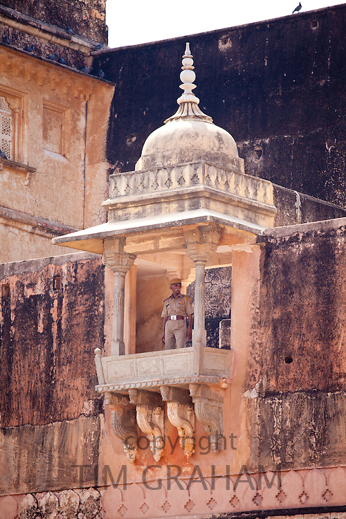 Armed guard soldier at The Amber Fort a Rajput fort built 16th Century in Jaipur, Rajasthan, Northern India