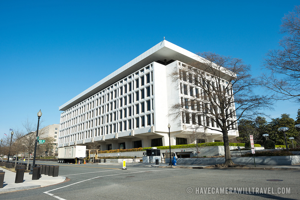 A Federal Reserve building on 20th and C Streets in Foggy Bottom in Washington DC.
