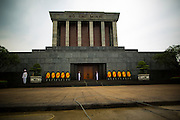 08 APRIL 2012 - HANOI, VIETNAM:   The Ho Chi Minh Mausoleum in Hanoi. The Ho Chi Minh Mausoleum, in Vietnamese: Lng Ch tch H Chí Minh, is a large memorial in Hanoi, Vietnam dedicated to Ho Chi Minh, the late leader of North Vietnam. It is located in the centre of Ba Dinh Square, which is the place where Ho read the Declaration of Independence on September 2, 1945, establishing the Democratic Republic of Vietnam. The mausoleum is 21.6 metres high and 41.2 metres wide.    PHOTO BY JACK KURTZ