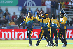 July 1, 2019 - Chester Le Street, County Durham, United Kingdom - Angelo Mathews of Sri Lanka celebrates with after dismissing Nicholas Pooran with his first ball during the ICC Cricket World Cup 2019 match between Sri Lanka and West Indies at Emirates Riverside, Chester le Street on Monday 1st July 2019. (Credit Image: © Mi News/NurPhoto via ZUMA Press)