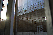 Security fencing and gate number 13. HMP Wandsworth, London, United Kingdom