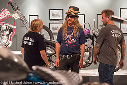 Old Iron - Young Blood exhibition in the Motorcycles as Art gallery at the Buffalo Chip during the annual Sturgis Black Hills Motorcycle Rally. Sturgis, SD. USA. Tuesday August 8, 2017. Photography ©2017 Michael Lichter.