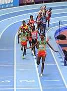 Yomif Kejelcha (ETH) wins the Mens 3000m in a time of 8.14.45 during the final session of the IAAF World Indoor Championships at Arena Birmingham in Birmingham, United Kingdom on Saturday, Mar 2, 2018. (Steve Flynn/Image of Sport)