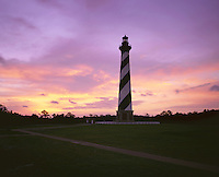 AA03196-01...NORTH CAROLINA - Sunset at Cape Hatteras Light on the Outer Banks in Cape Hatteras National Seashore.