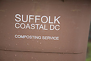 Brown composting service bin supplied by Suffolk Coastal District Council, England